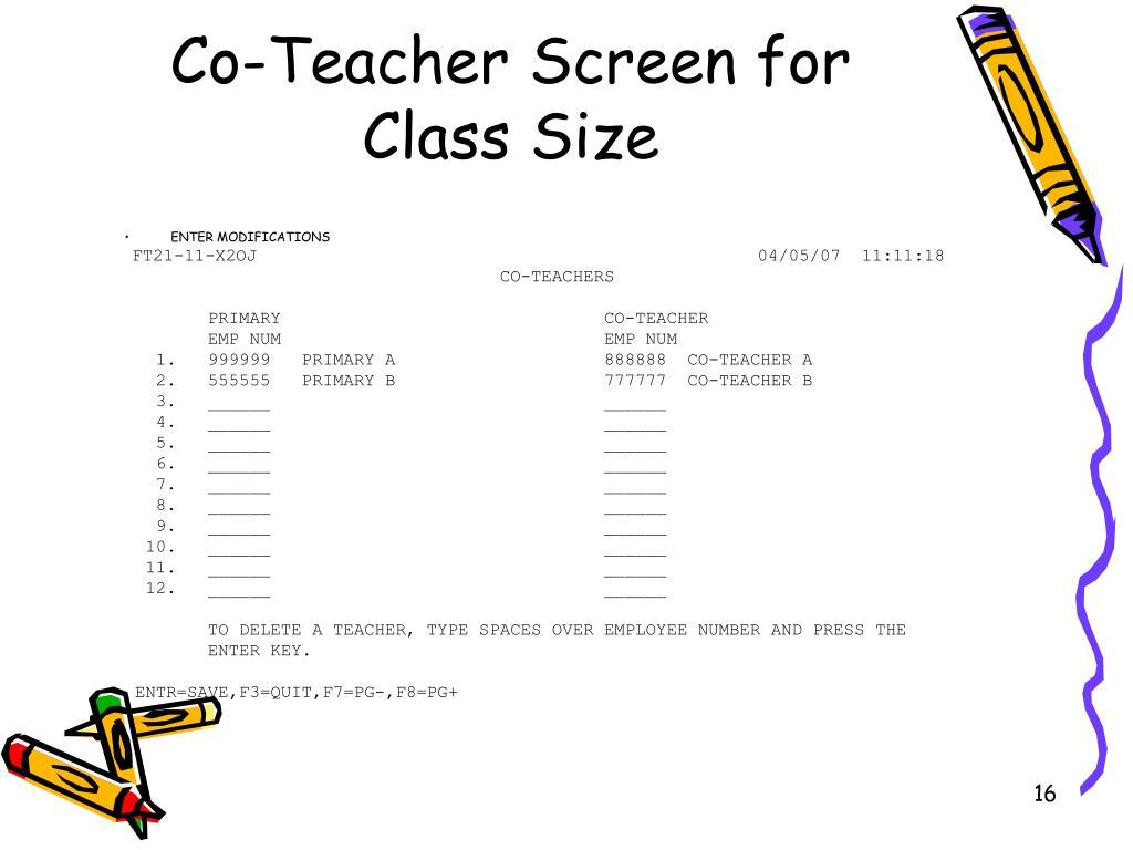 Co-Teacher Screen for Class Size