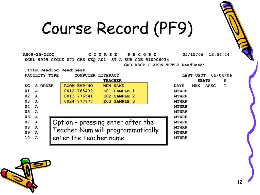Course Record (PF9)