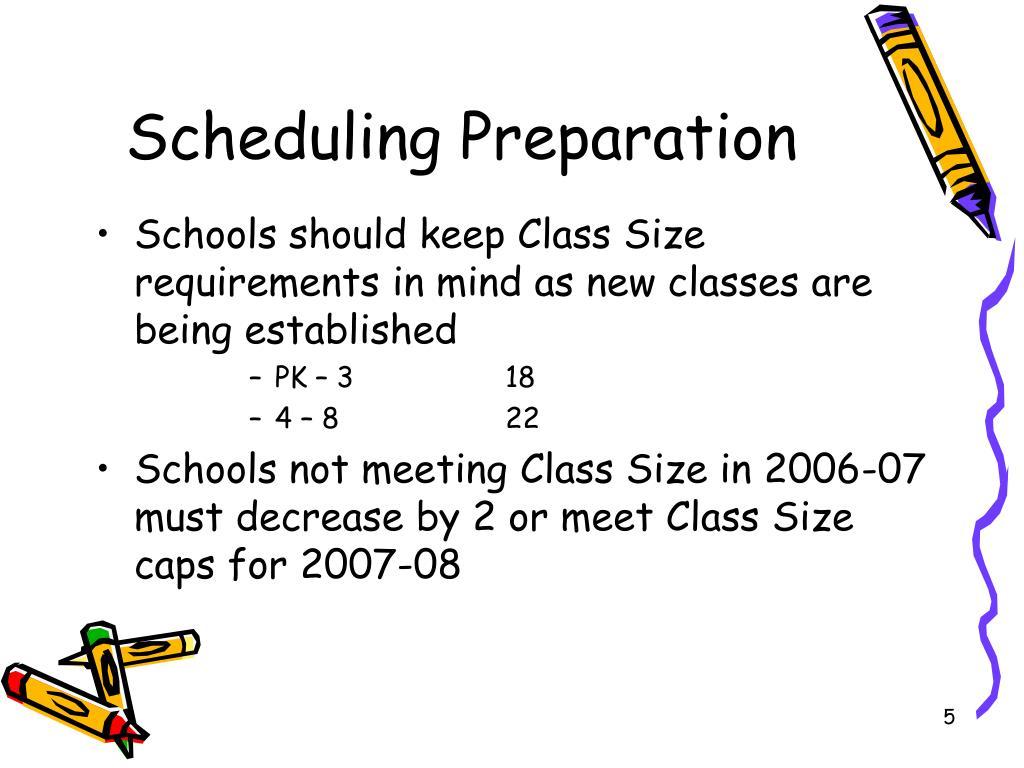 Scheduling Preparation