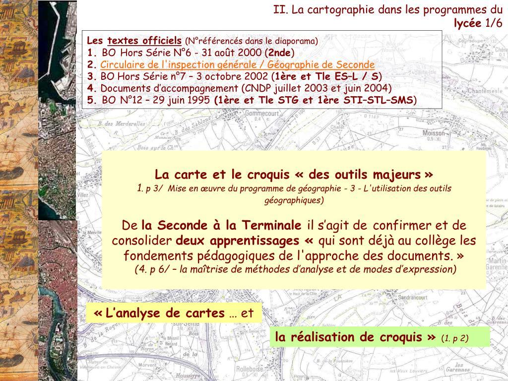II. La cartographie dans les programmes du