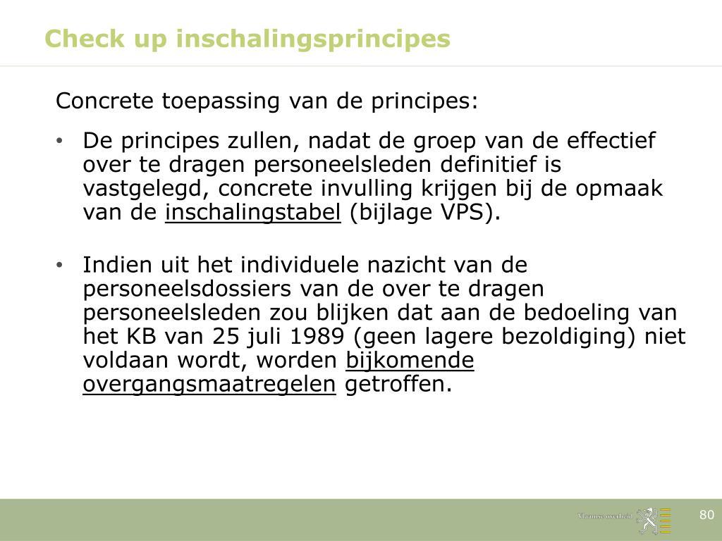 Check up inschalingsprincipes