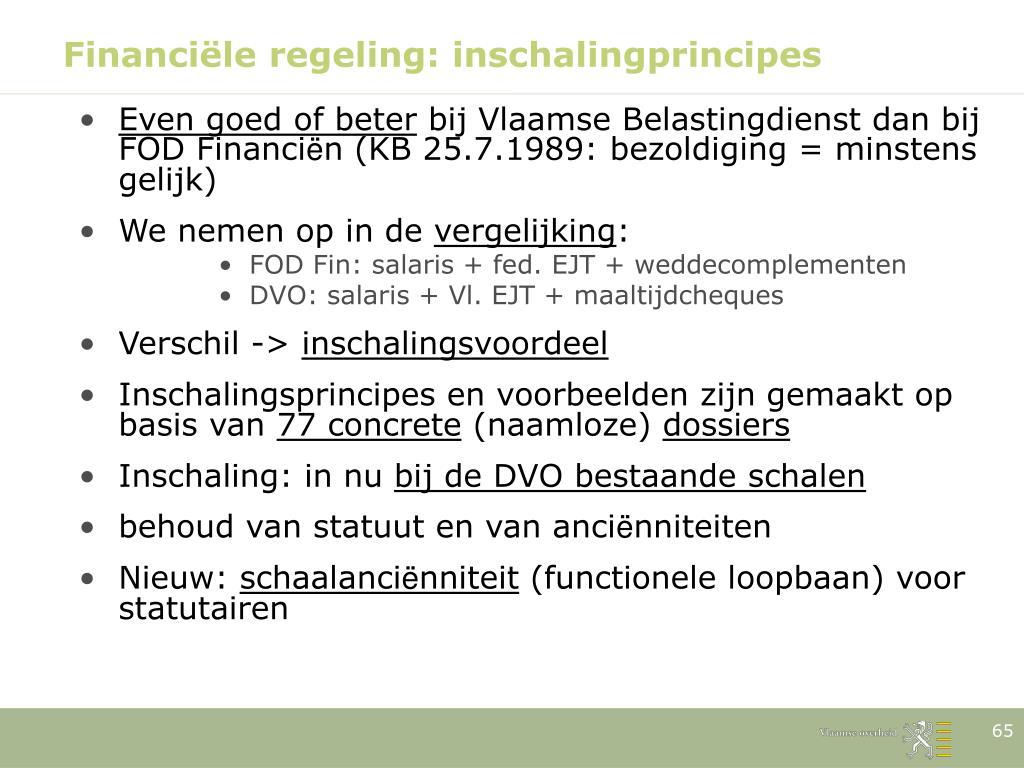 Financiële regeling: inschalingprincipes