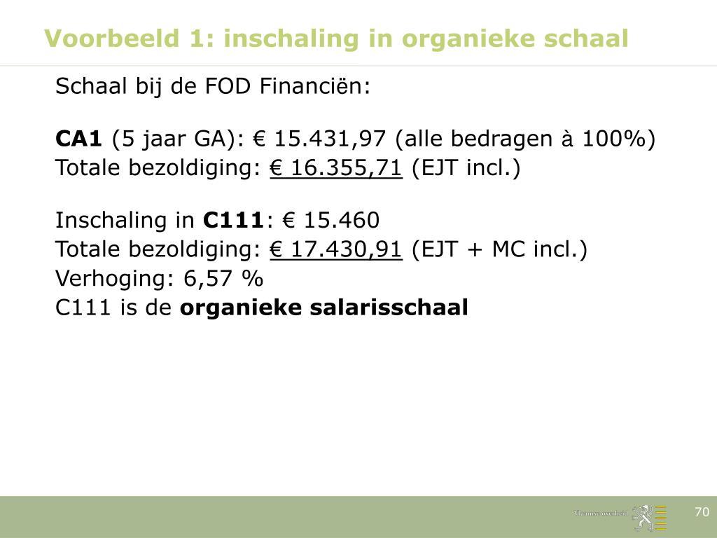 Voorbeeld 1: inschaling in organieke schaal