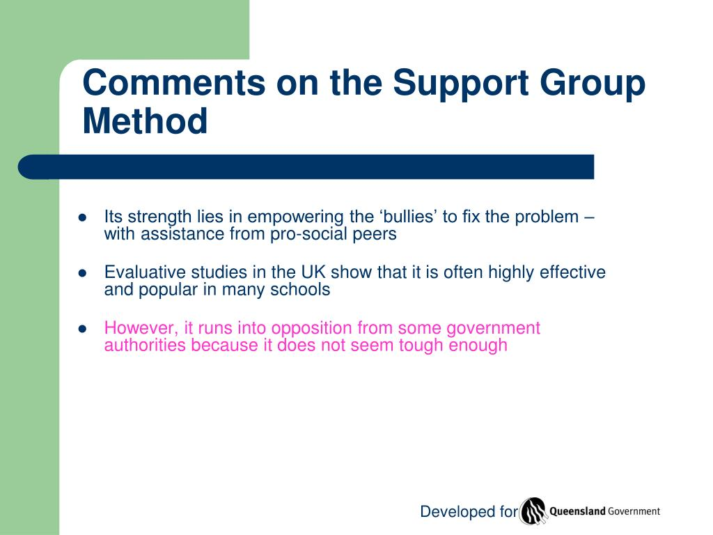 Comments on the Support Group Method