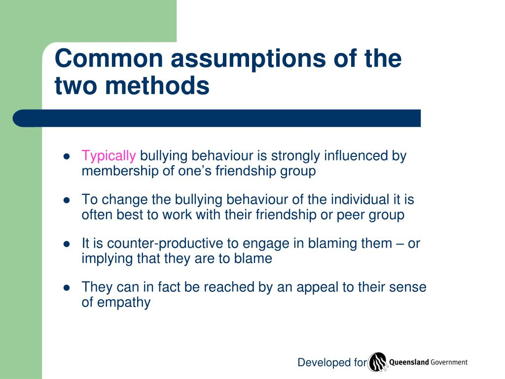 Common assumptions of the two methods