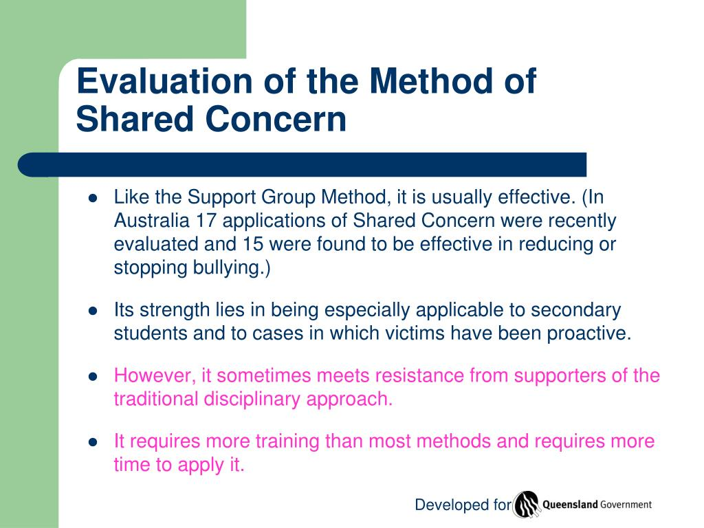 Evaluation of the Method of Shared Concern