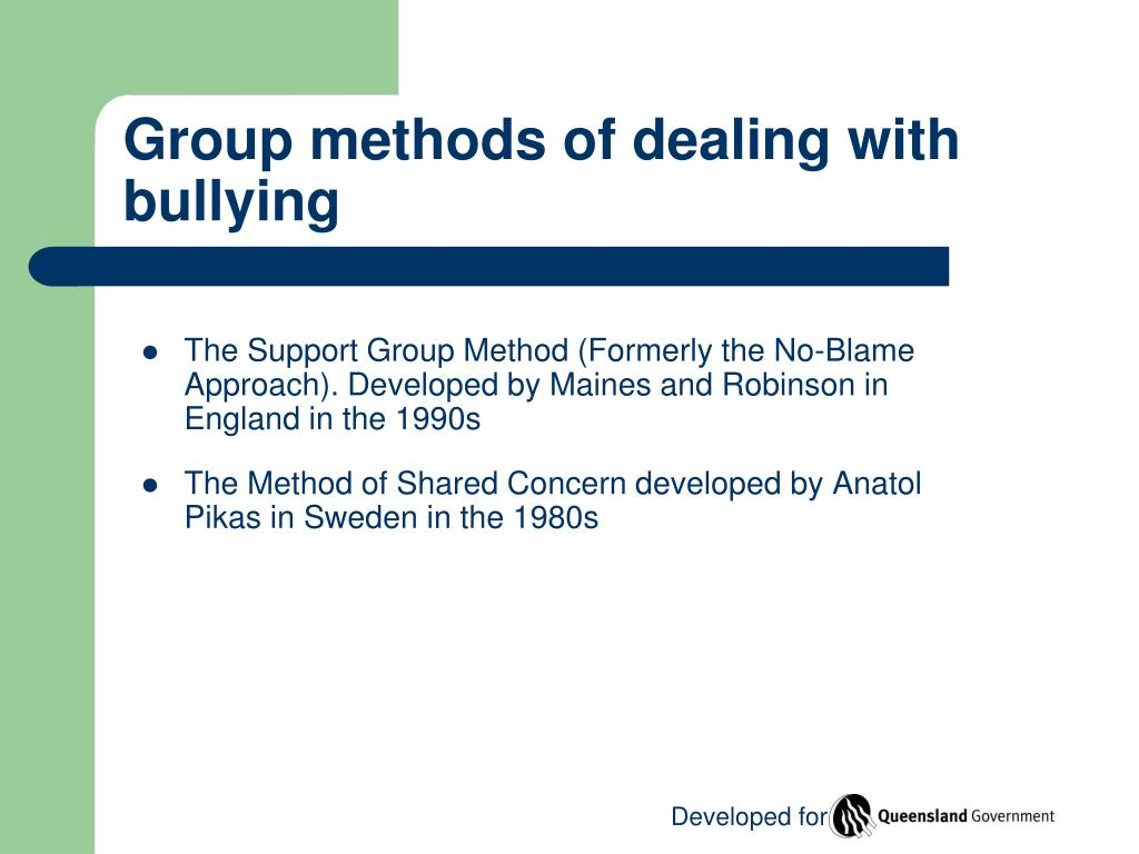 Group methods of dealing with bullying