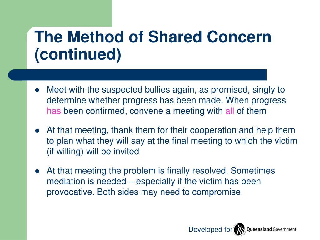 The Method of Shared Concern (continued)