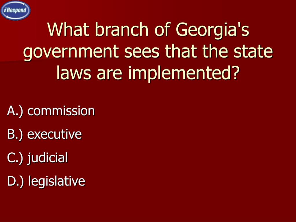 What branch of Georgia's government sees that the state laws are implemented?