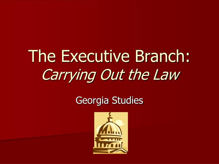 The executive branch carrying out the law