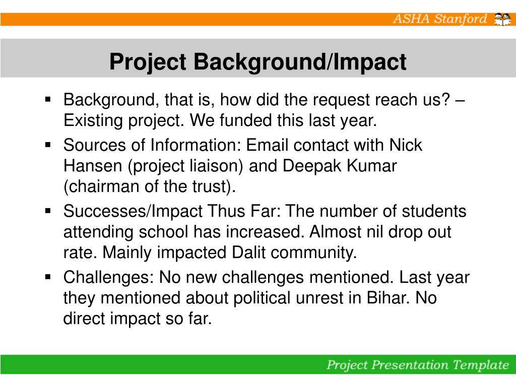 Project Background/Impact