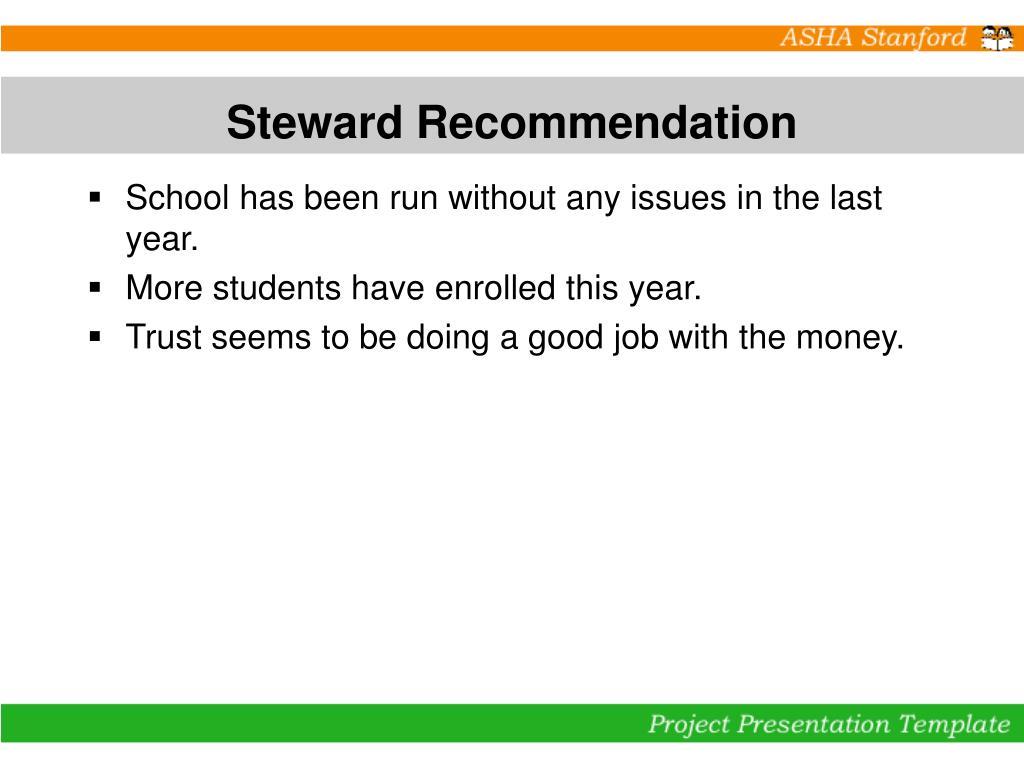 Steward Recommendation