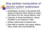 stop partisan manipulation of election system weaknesses