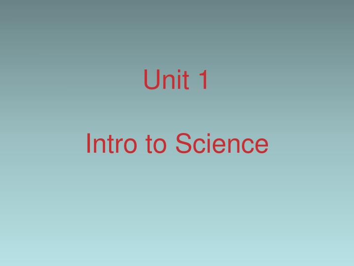 unit 1 intro to science n.