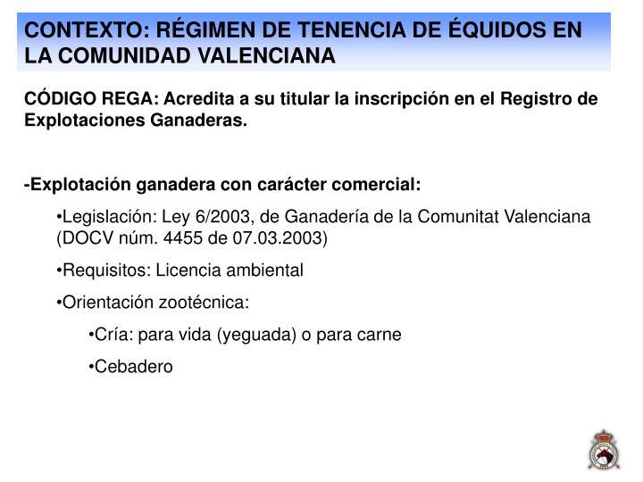 CONTEXTO: RÉGIMEN DE TENENCIA DE ÉQUIDOS EN LA COMUNIDAD VALENCIANA