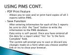 using pims cont