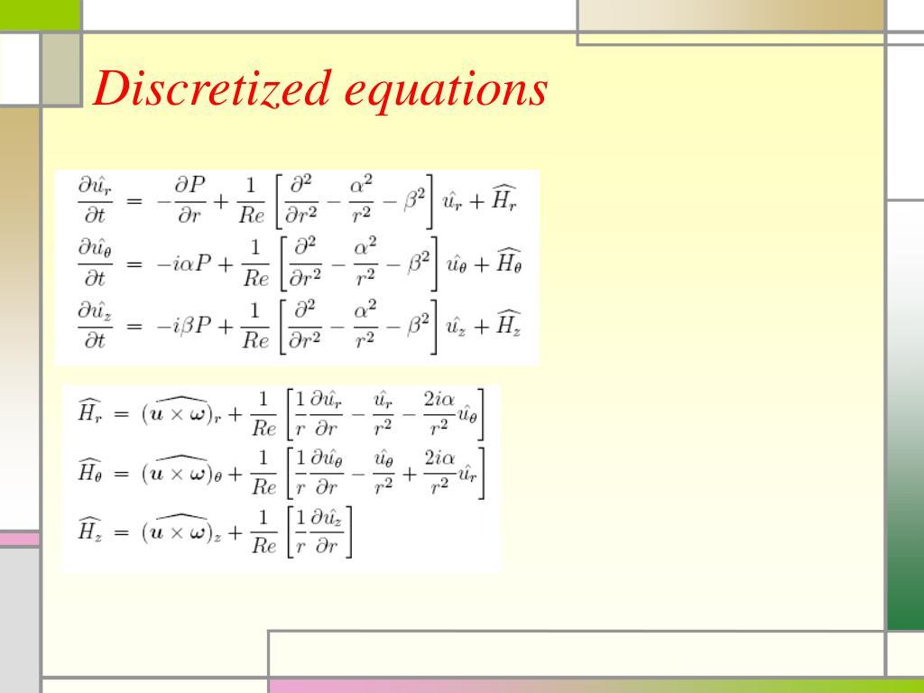 Discretized equations