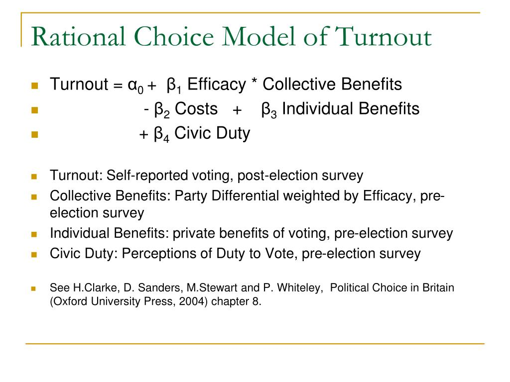Rational Choice Model of Turnout