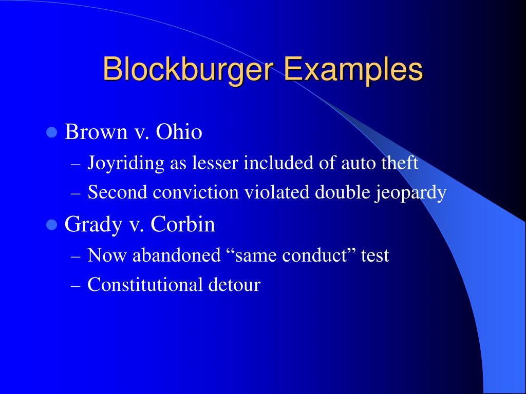 Blockburger Examples