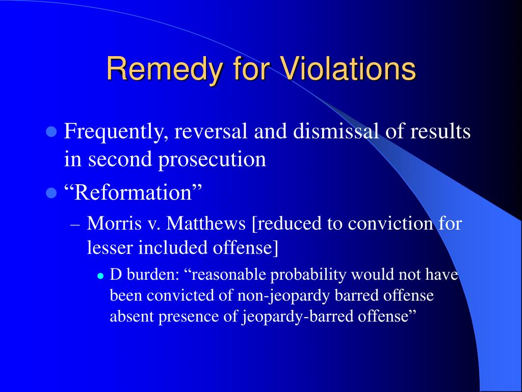 Remedy for Violations