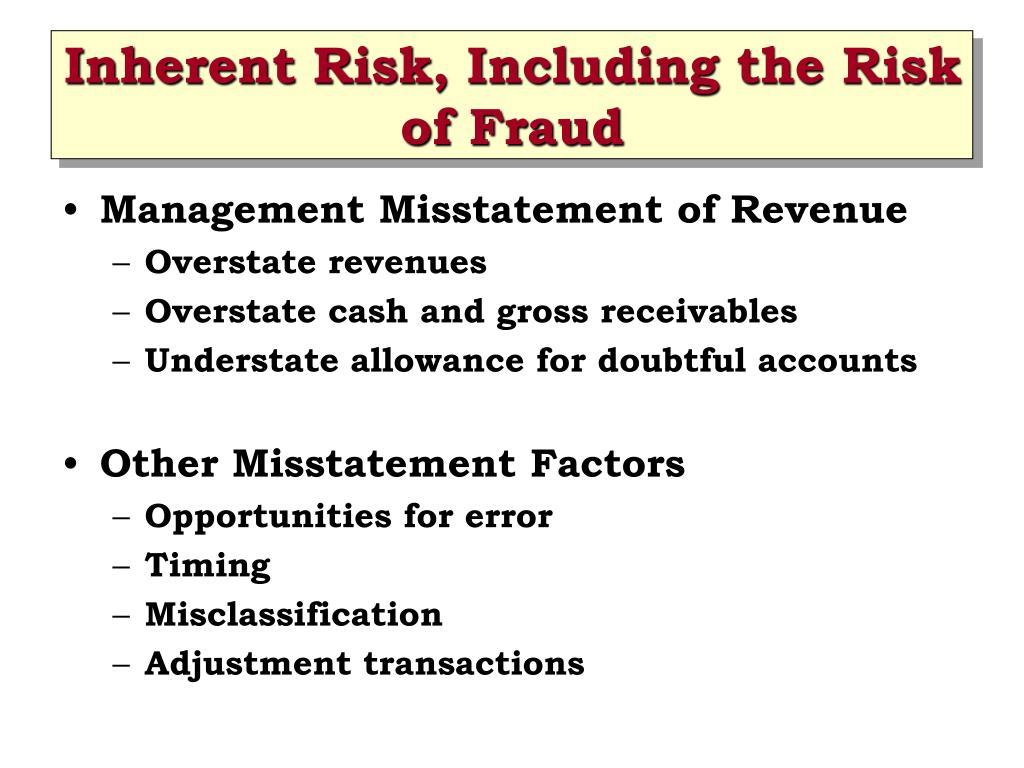 Inherent Risk, Including the Risk of Fraud
