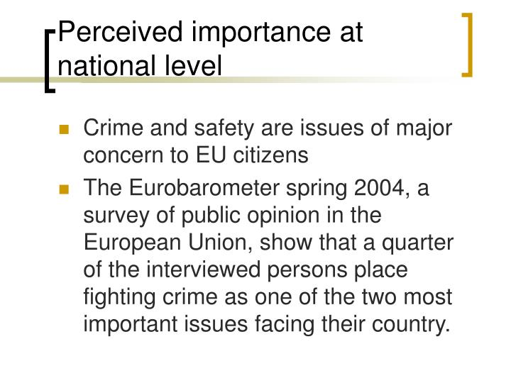 Perceived importance at national level