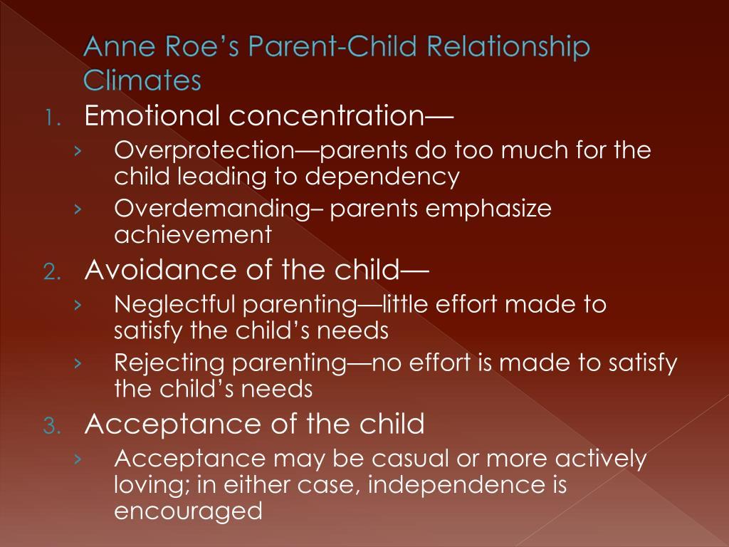 Anne Roe's Parent-Child Relationship Climates