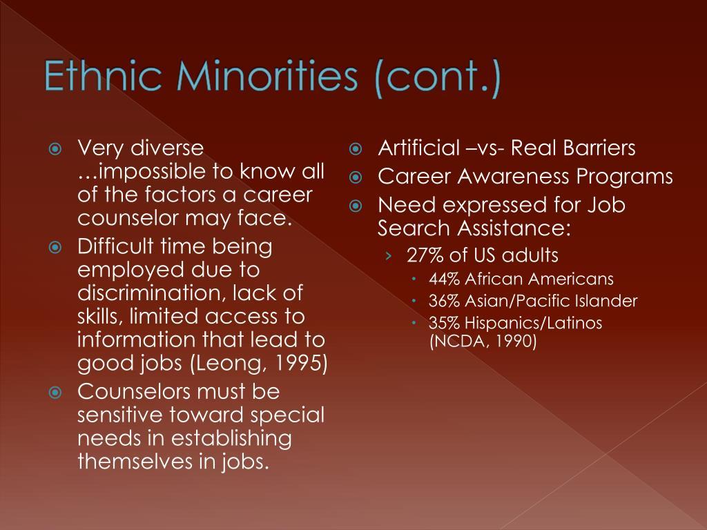 Ethnic Minorities (cont.)