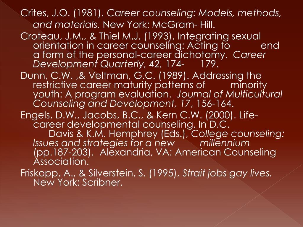 Crites, J.O. (1981).