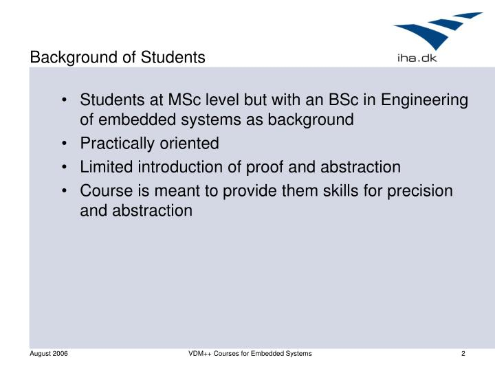 Background of students