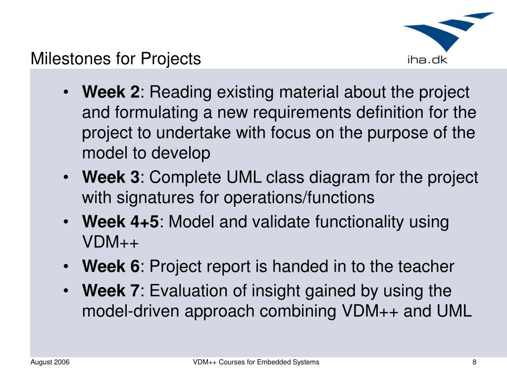 Milestones for Projects