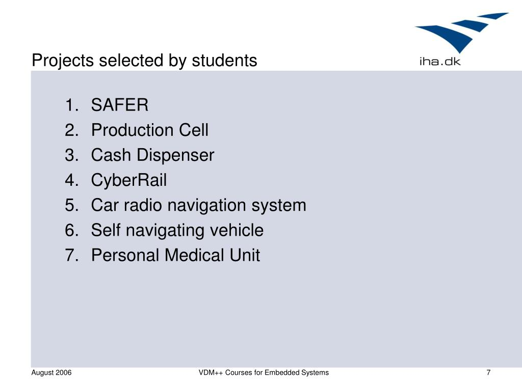 Projects selected by students
