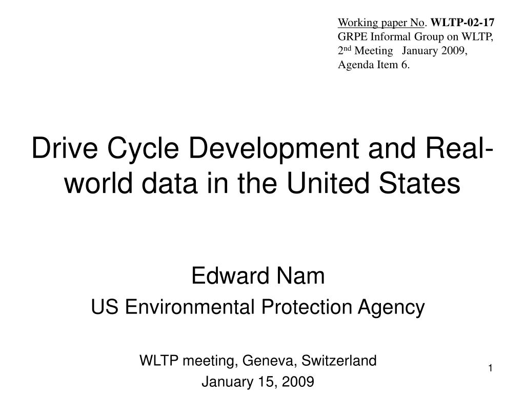 drive cycle development and real world data in the united states
