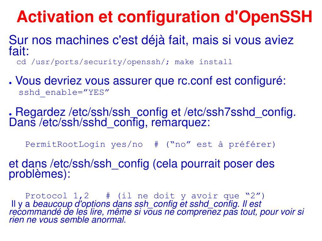 Activation et configuration d'OpenSSH
