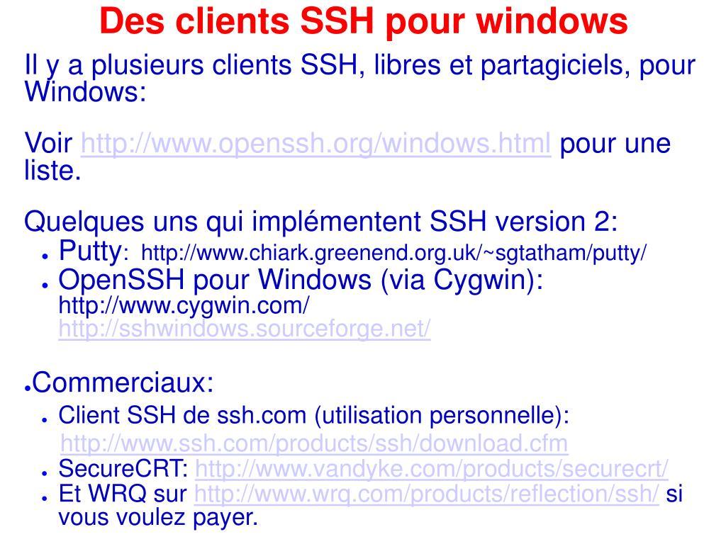 Des clients SSH pour windows