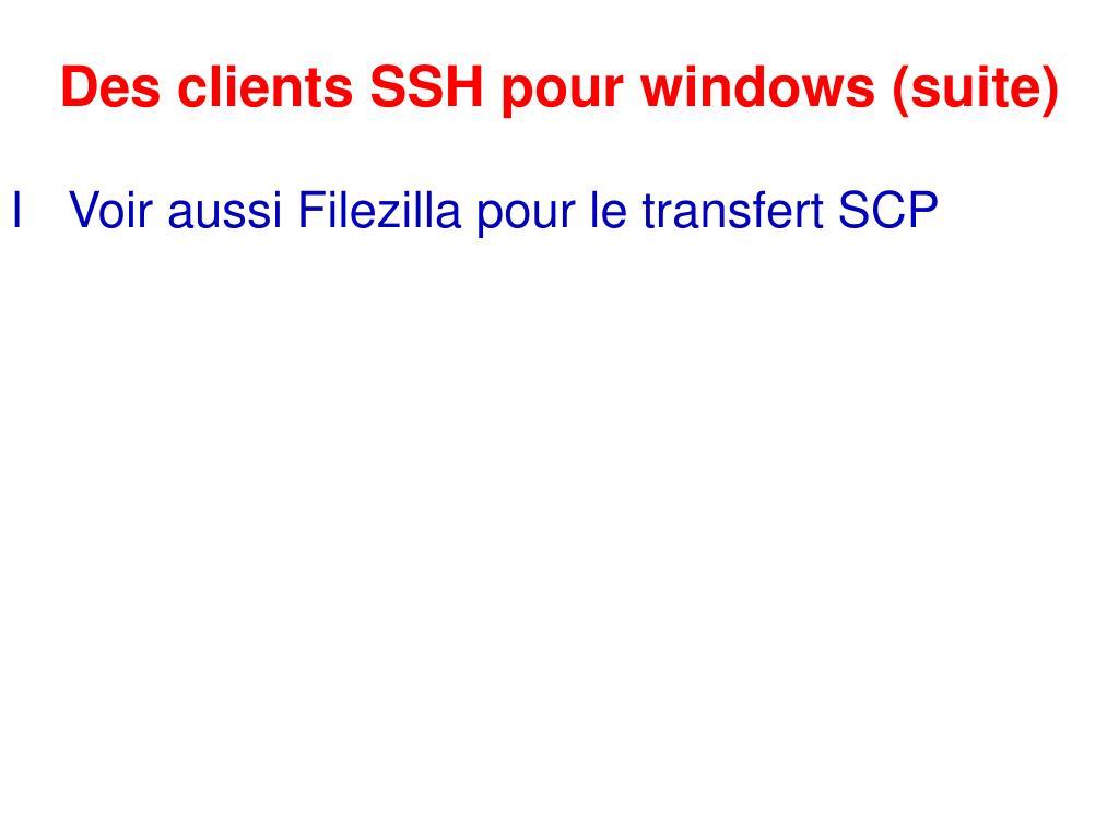 Des clients SSH pour windows (suite)