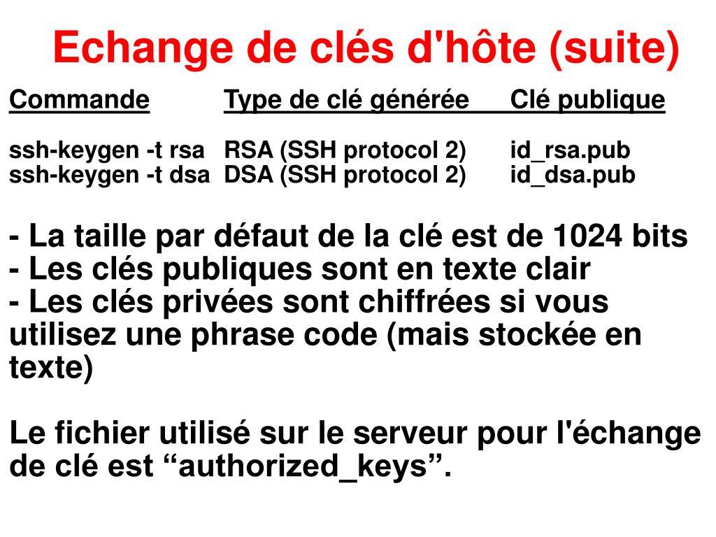Echange de clés d'hôte (suite)