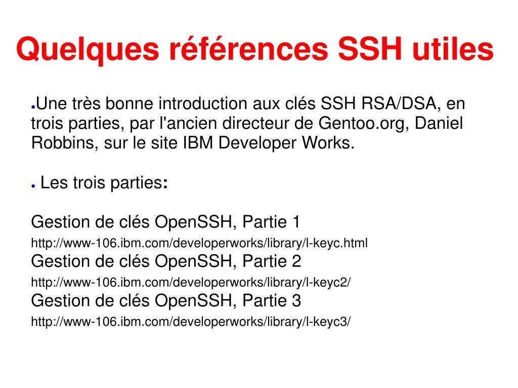 Quelques références SSH utiles