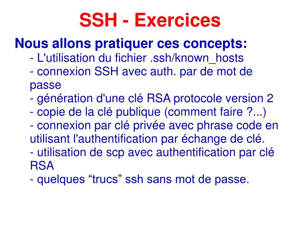 SSH - Exercices