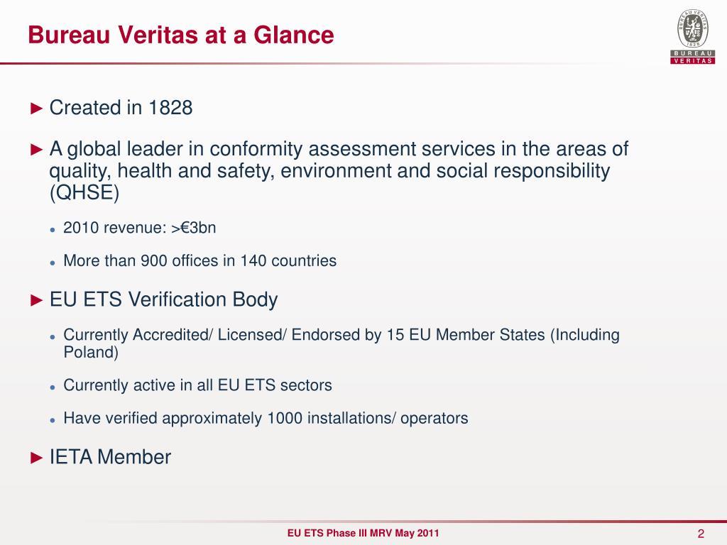 Bureau Veritas at a Glance