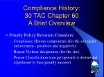 compliance history 30 tac chapter 60 a brief overview17