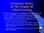 compliance history 30 tac chapter 60 a brief overview19