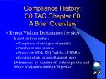compliance history 30 tac chapter 60 a brief overview5