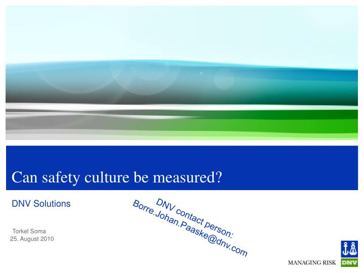 Can safety culture be measured