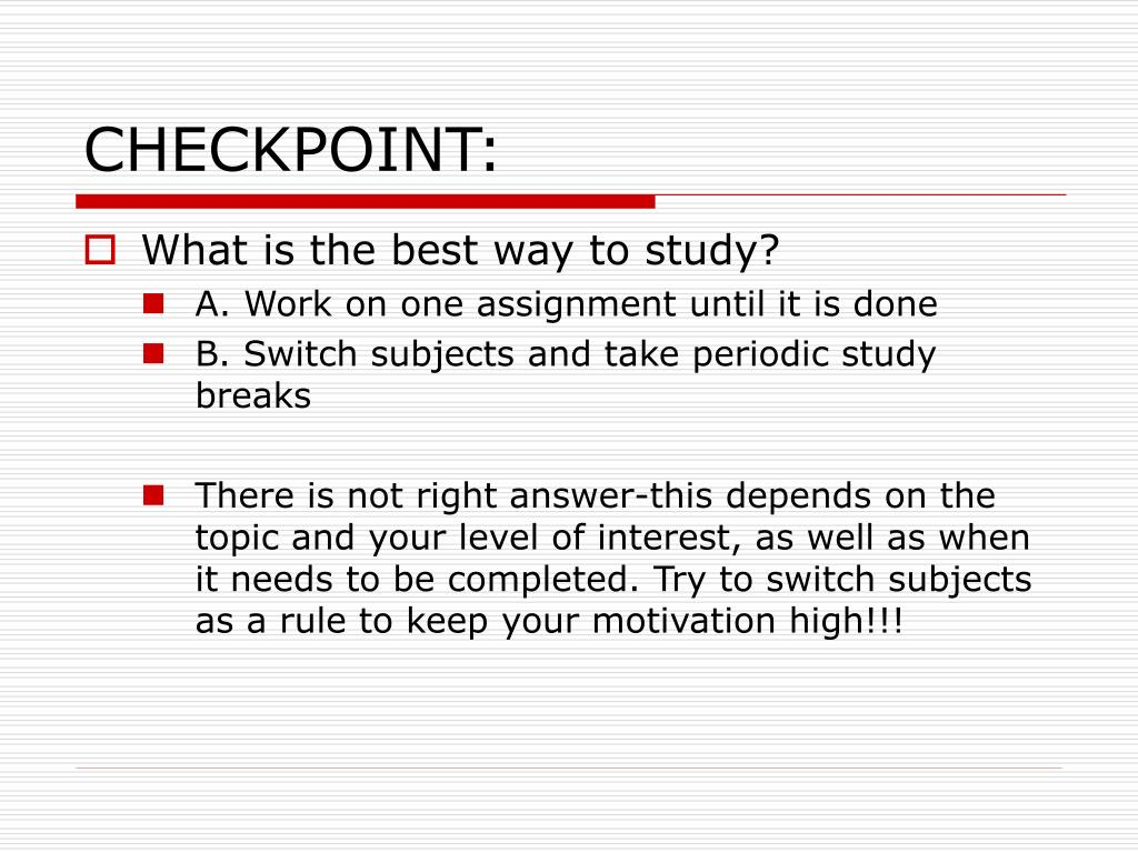 CHECKPOINT:
