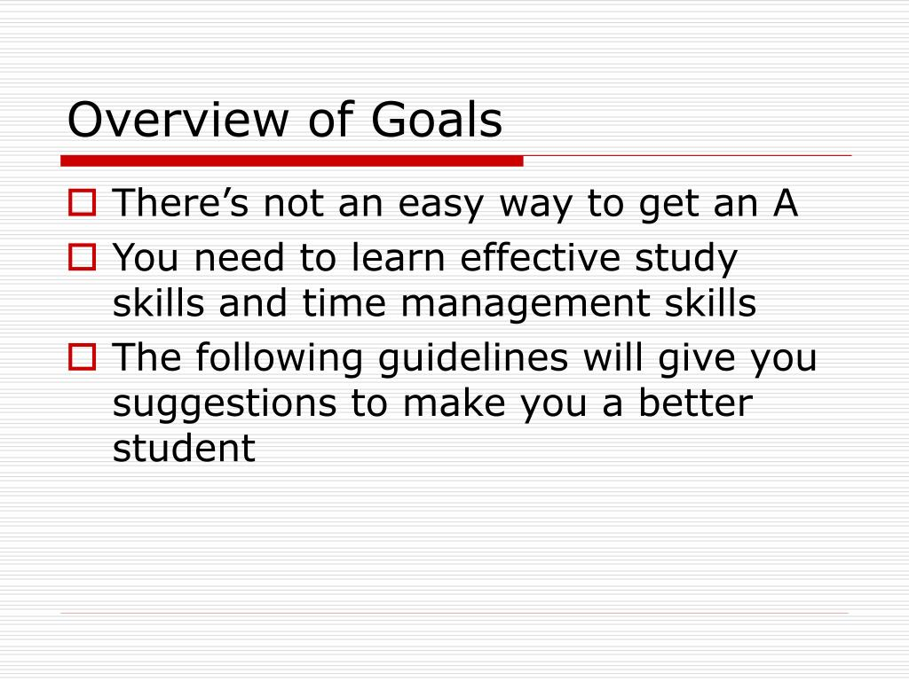Overview of Goals