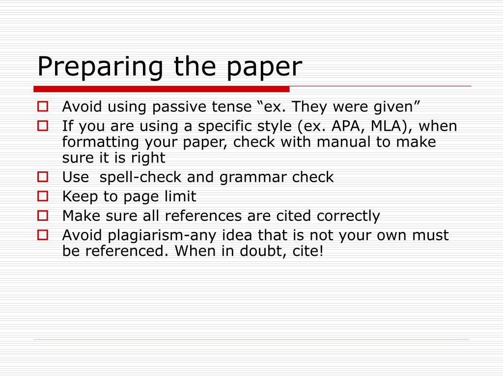 Preparing the paper