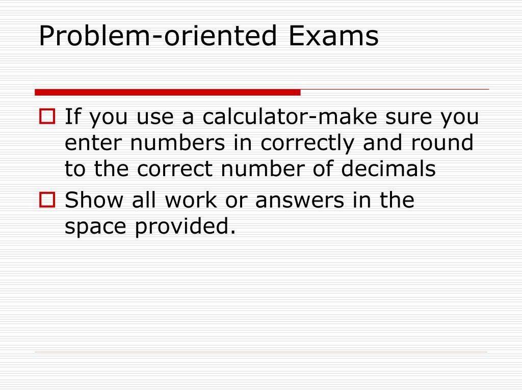 Problem-oriented Exams