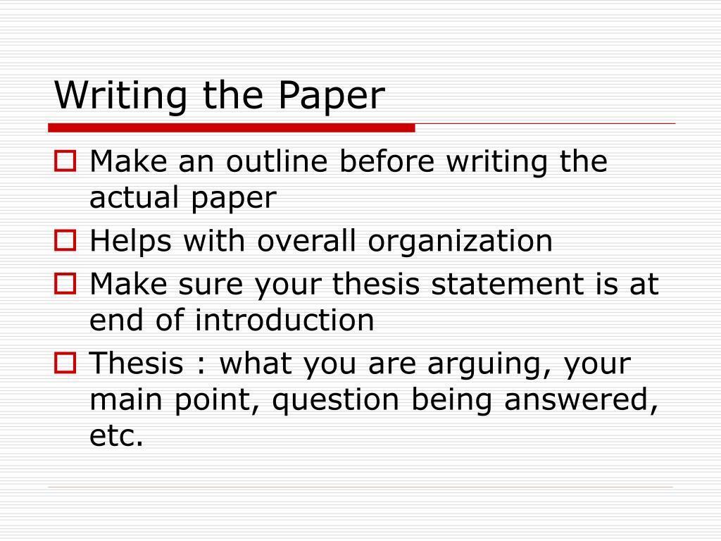 Writing the Paper