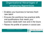organisational advantages of employing apprentices